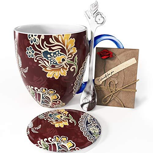 YC YANG CHAI YC Mandala Cup - Set de regalo para los amantes del café, taza de café de porcelana de 900 ml, taza de café XXL + posavasos + cuchara extra larga