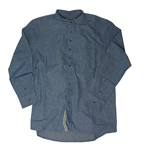McLaughlin's Irish Shop Irisches Stehkragenhemd aus glatter Baumwolle im blauweißen Streifenmix (XL)