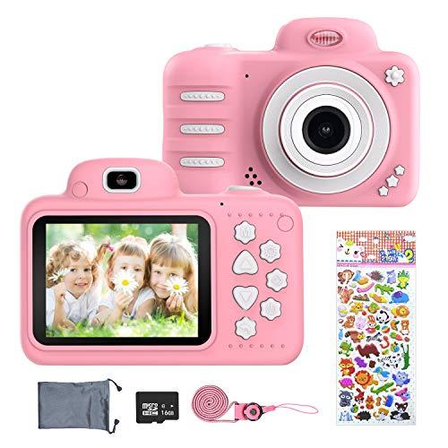 ERAY Cámara para niños, Cámara Digital de Fotos & Vídeos, 8MP/ 1080P/ IPS Pantalla de 2.4 Pulgadas/ 16 GB SD Tarjeta/ 4X Zoom/ Múltiples Modos/ Apagado Automático, Juguete para 3-10 Años, Rosa