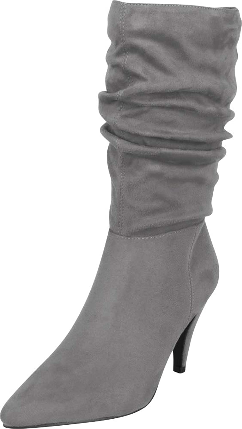 Cambridge Select Women's Pointed Toe Ruched Slouch Mid Heel Mid-Calf Boot