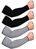 2 Pairs Cut Resistant Sleeves Bite-Proof Arm Protectors Arm Protection Sleeves Guard (Black, Grey, 40 cm)