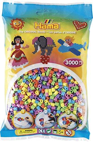 Hama Perlen 201-50 Bügelperlen Beutel mit ca. 3.000 bunten Midi Bastelperlen mit Durchmesser 5 mm im Pastell Mix, kreativer Bastelspaß für Groß und Klein