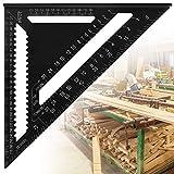 AFASOES Escuadra Triangular Carpintero 30cm/12 Pulgadas Escuadras Metalica Carpintero metrico Regla Triangular Aluminio Carpintero Escuadras Metalicas Grandes para Carpintero, 90 Grados 45 Grados