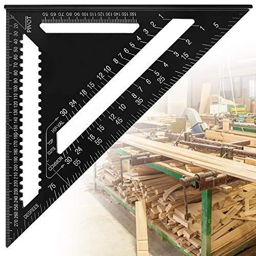 AFASOES Escuadra Triangular Carpintero 12 Pulgadas 90 Grados 45 Grados Regla Cuadrada Alta Precisión Aleación de Aluminio Métrico/Imperial Regla Triangular Metalica Grande para Ingeniero Carpintero