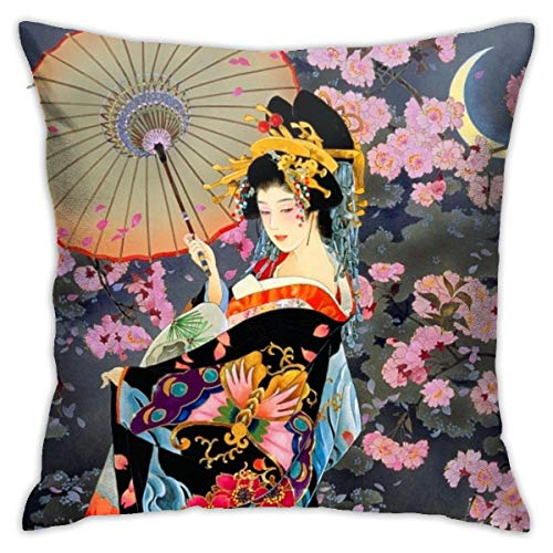 ZHIZHEND Cute Decorative Throw Pillow Cushion Covers 18x18inch for Girls Women,Throw Pillow Cases for Couch Bedroom Car(Japanese Art Geisha Girl Psychedelic Background)