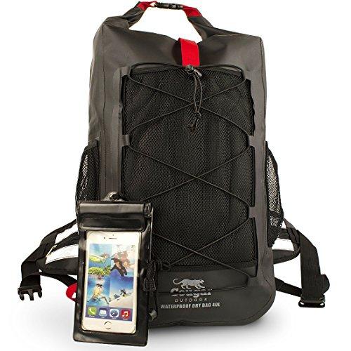 """Cougar Outdoor, zaino impermeabile """"Waterman"""", borsa impermeabile resistente, grande borsa da 40 l, ideale per escursioni, kayak e sport acquatici"""