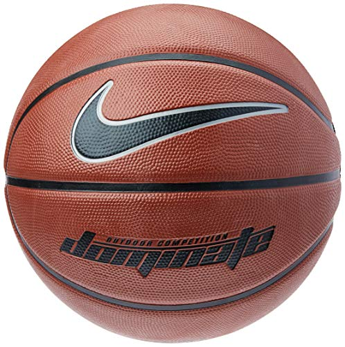 Nike Dominate 8P Basketball, Dark Amber/Black/MTLC Platinum, 7