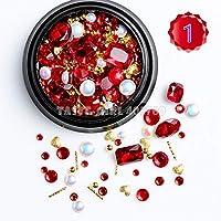 1 Jar Mix Shapesグリッターパールメタルねじれバービーズ曇りハートネイルアート宝石デカールマニキュアDIYのヒント (Color : HGZ12)
