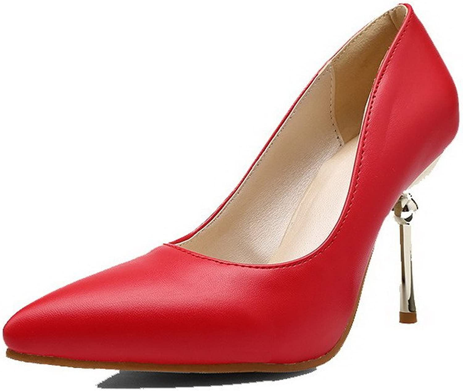 WeiPoot Women's High-Heels Solid Pull-On PU Pointed-Toe Pumps-shoes