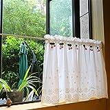 Cortinas cortas de cocina de algodón blanco puro, cortina neta bordada hueca con decoración de cereza rosa, Café de estilo francés cortinas de ventanas- 60x58cm