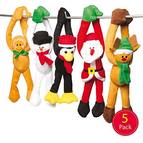 Baker Ross AC174 Kerstmis hangende knuffeldieren voor kinderen als kleine verrassing in Sinterklaarzen of als prijs bij feestspelen (5 stuks), gesorteerd