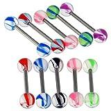 10 Stück-Packung von Phantasie Marmor Schraube UV Ball mit 14MM Länge - 14 Gauge 316 L chirurgischer Stahl Straight Barbell Zunge Bar Piercing