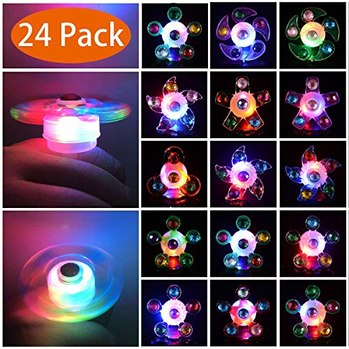 Mikulala Birthday Party Favors for Kids Prizes 25 Pack Flashing LED Light Up Rings Toys Bulk Boys Girls Gift Blinky Glow in The Dark Party Supplies 5 Color 10 Shape Goodie Bag Fillers