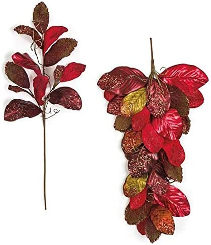 36 Inch Metallic Reservation Glittered Red Magnolia or with Spray Swag Twigs Reservation