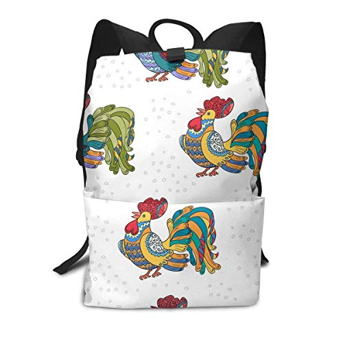 Homebe Rooster Animal Mexico White Colorful Mochila Unisex, Mochilas y Bolsas Travel Hiking Small Gym Teen Little Girls Youth Boy Women Men Kids Backpack