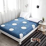 TeasyDay Schleifbett Matratze, Aloe Vera Baumwollgewebe Anti-Rutsch-Bettlaken, Maschinenwaschbar Bedruckte Bettdecke im modernen minimalistischen Stil (Light Blue, D)