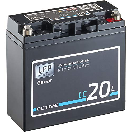 ECTIVE LC20L BT 12V 20Ah 256Wh LiFePO4-Batterie mit Bluetooth-Funktion Lithium-Eisenphosphat Versorgungs-Batterie inklusive App