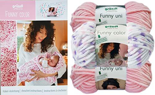 (3x100 Gramm) 2X Gründl Funny Uni, 1x Gründl Funny Color Set 6 Rosa Flieder Mix Softgarn SB Pack inkl Häkelanleitung für eine Kuscheldecke