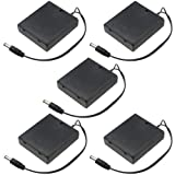 WMYCONGCONG 5 PCS DC 5.5x2.1mm Male Connector 4x1.5V 6V Battery Holder Case Box Wired On/Off Switch w/Cover