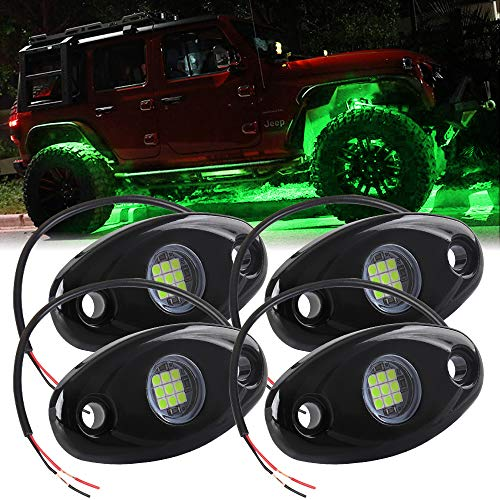 4X Luces de Roca LED Impermeable Verde Luz de Pendiente de neón LED para camión SUV ATV Jeep Off-Road Luz del chasis del Coche Ambiente Luz Decorativa