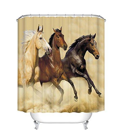 Fangkun Duschvorhang, Badezimmer-Dekor-Set, 3 Pferde, Laufmuster, Gardinen – Polyester-Stoff, wasserdicht, Badvorhänge – 12 Haken – 183 x 183 cm