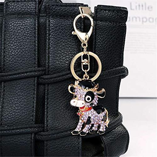 YYZLL Llavero de cristal con forma de vaca con colgante de animal de dibujos animados para coche, decoración de llaves de becerro, ganado, regalo para niños, color morado