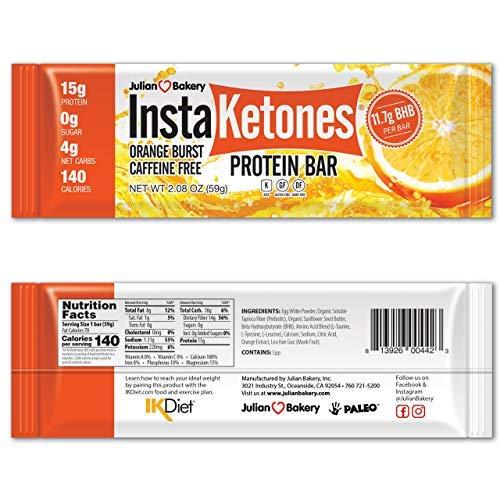Julian Bakery InstaKetones Protein Bar | Orange Burst | Caffeine-Free | 11.7g GoBHB Per Protein Bar | Exogenous Ketones | 4 Net Carbs | 10 Bars