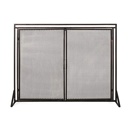 Purchase Christopher Knight Home Novia Iron Fireplace Screen, Black Brushed Gold