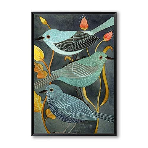 Suuyar Poëzie Dieren Vogels Nachtegaal Retro Decor Canvas Creatieve Kunst Stijl Schilderij Print Foto Poster Wall Art Home Decor-50x75cm geen frame