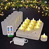 HL Safe DC Warm White Rechargeable Tea Light Candles(12pcs) with Timer 10key Remote Control and Holders 2A 3.5Hours DC Charging Base,Flameless Flickering Holiday Decoration Light