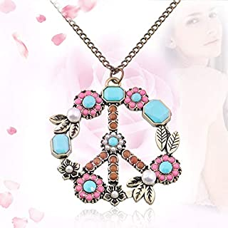 Vintage Flower Coral Turquoise Simulated Pearl Peace Sign Pendant Long Necklace Jewelry Anti-War Sweater Necklace
