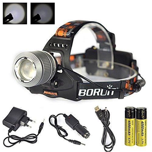 Boruit Lampe Frontale Zoom Puissant Imperméable à LED XM-L T6 2000 Lumens Rechargeable pour Camping Pêche Cyclisme Course à pied Randonnée Chasse - Gris Chargeur EU