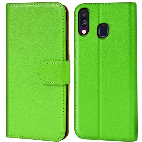 Verco Galaxy A40 Hülle, Handyhülle für Samsung Galaxy A40 Tasche PU Leder Flip Hülle Brieftasche - Grün