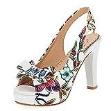 KutuKowi Mujer Moda Tacón Alto Sandalias Sin Cordones Primavera Zapatos Peep Toe Lazos Fiesta Pumps White Numero 39 Asiática