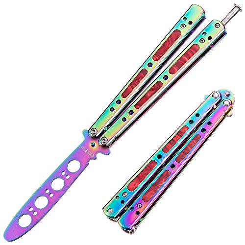 Butterfly Knife Trainer Balisong Trainer - Practice Butterfly Knives - Butterfly Knife NOT Real Blade NOT Sharp - Butterfly Knofe Knifes - Dull Trick CSGO Knife Trainer - Navaja Mariposa K-06