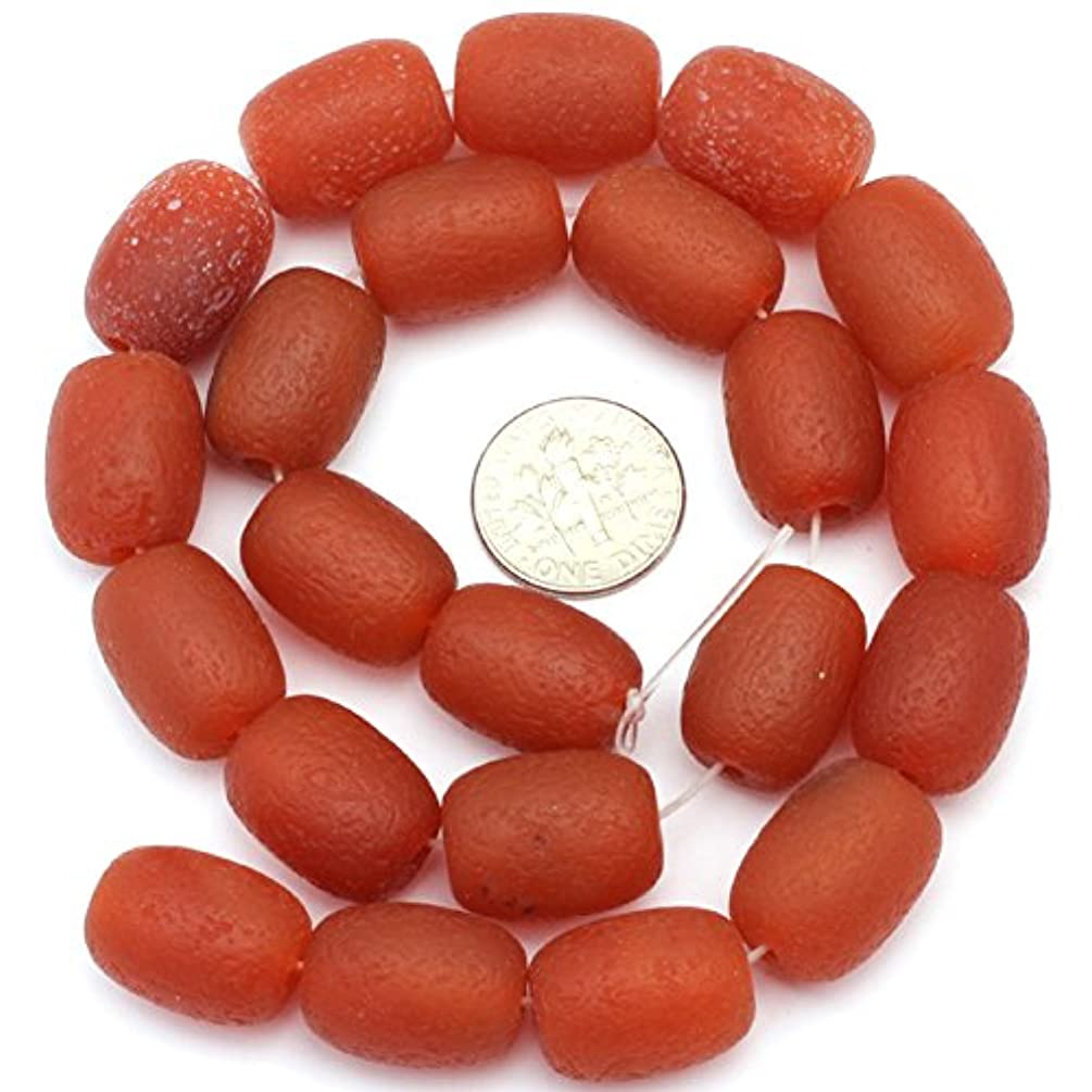 JOE FOREMAN 13x18mm Red Agate Semi Precious Gemstone Frosted Column Loose Beads for Jewelry Making DIY Handmade Craft Supplies 15
