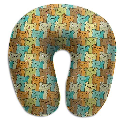 Almohada de espuma viscoelástica, diseño de osos divertidos, almohada de viaje ligera para conducir