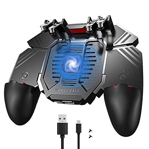 Yideng Mobile Game Controller 4 löst Pubg Mobile Controller mit Lüfter aus 4000mAh Gamepad für iPhone Android iOS Handy L1R1 L2R2 löst Game Joystick 6 Fingers Operation für PUBG