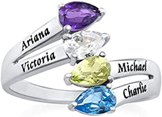 Personalized Heart Birthstone Custom Made Promise Ring for Women