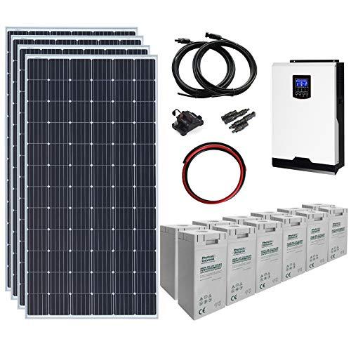 1.4kW 24V completo sistema di energia solare Off-grid con 4 pannelli solari da 360W, inverter ibrido 3kW e una banca batteria da 7.2kWh