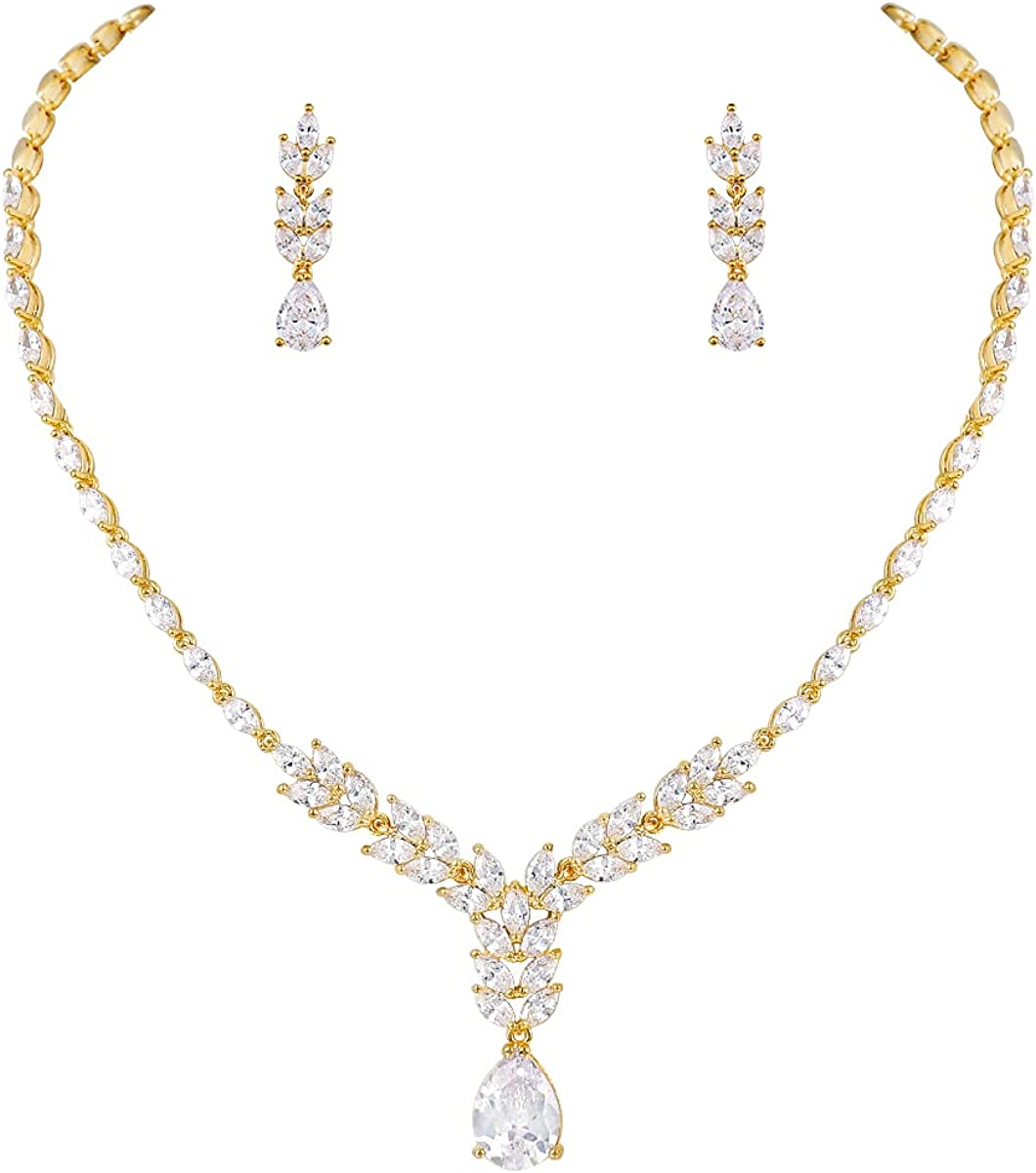 MEEDOZ Bridal Wedding Jewelry CZ Set Marquise Teardrop Cubic Zirconia Pendant Necklace and Dangle Earring Sets for Women Girls