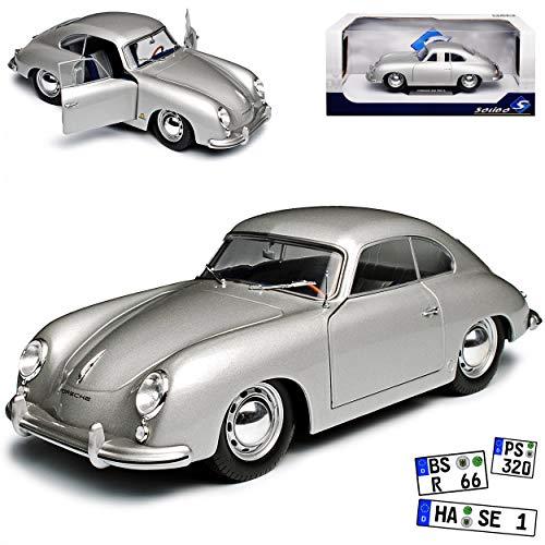 Porsche 356 Urmodell Coupe Silber 1948-1955 1/18 Solido Modell Auto mit individiuellem Wunschkennzeichen