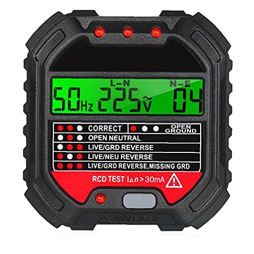 Socket tester, HT107 multifunzione plastica RCD rilevatore automatico Outlet, con display LCD, Socket tester,