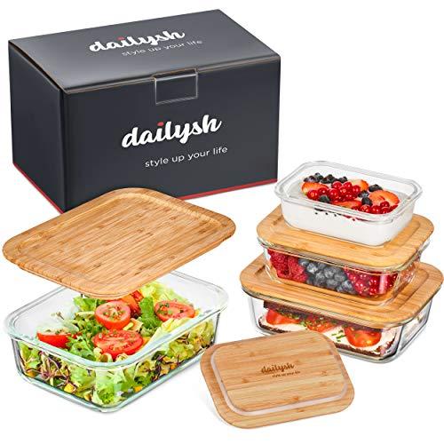 dailysh Glas Frischhaltedosen - 4er Set [Deckel-Innovation für leichteres Handling] Glasbehälter mit Deckel stapelbar - Luftdichte Glasschüssel mit Deckel aus Bambus - Vorratsdosen Glas mit Deckel