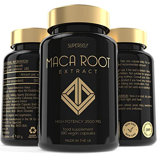 Maca Root Capsules 3500mg - High Strength 180 Maca Root Tablets - Pure Macca Root Powder Extract 3500mg Per Capsule - UK Made & Vegan - Natural Booster Supplement for Men and Women - 6-month Supply
