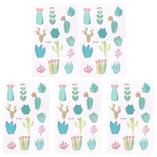 STOBOK - 10 hojas de pegatinas de cactus con diseo de plantas