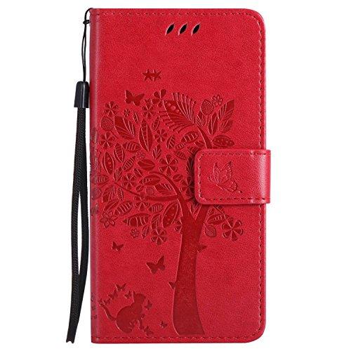 Guran® PU Leder Tasche Etui für Microsoft Lumia 640 Dual-SIM Smartphone Flip Cover Stand Hülle & Karte Slot Hülle-rote