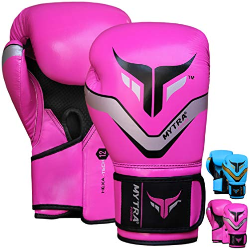 Mytra Fusion Boxhandschuhe für das Training Punching Sparring Boxsack (Hexa Pink, 12-OZ)