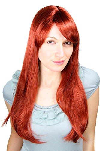 WIG ME UP - Longue Perruque, Aux Cheveux Rouges Et Lisses Raie 60Cm