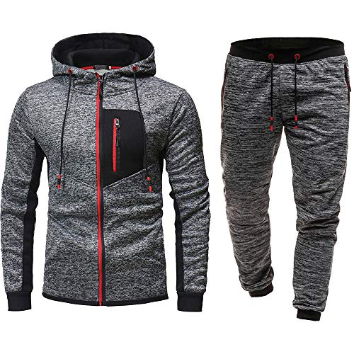 Men's Jogging Full Tracksuit Hoodies Gym Contrast Fleece Joggers Set Tracksuit Top & Bottoms Set (XL, Red)